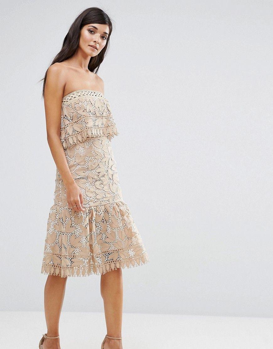 Aijek - Zweilagiges, trägerloses Kleid aus Spitze mit Schößchensaum ...