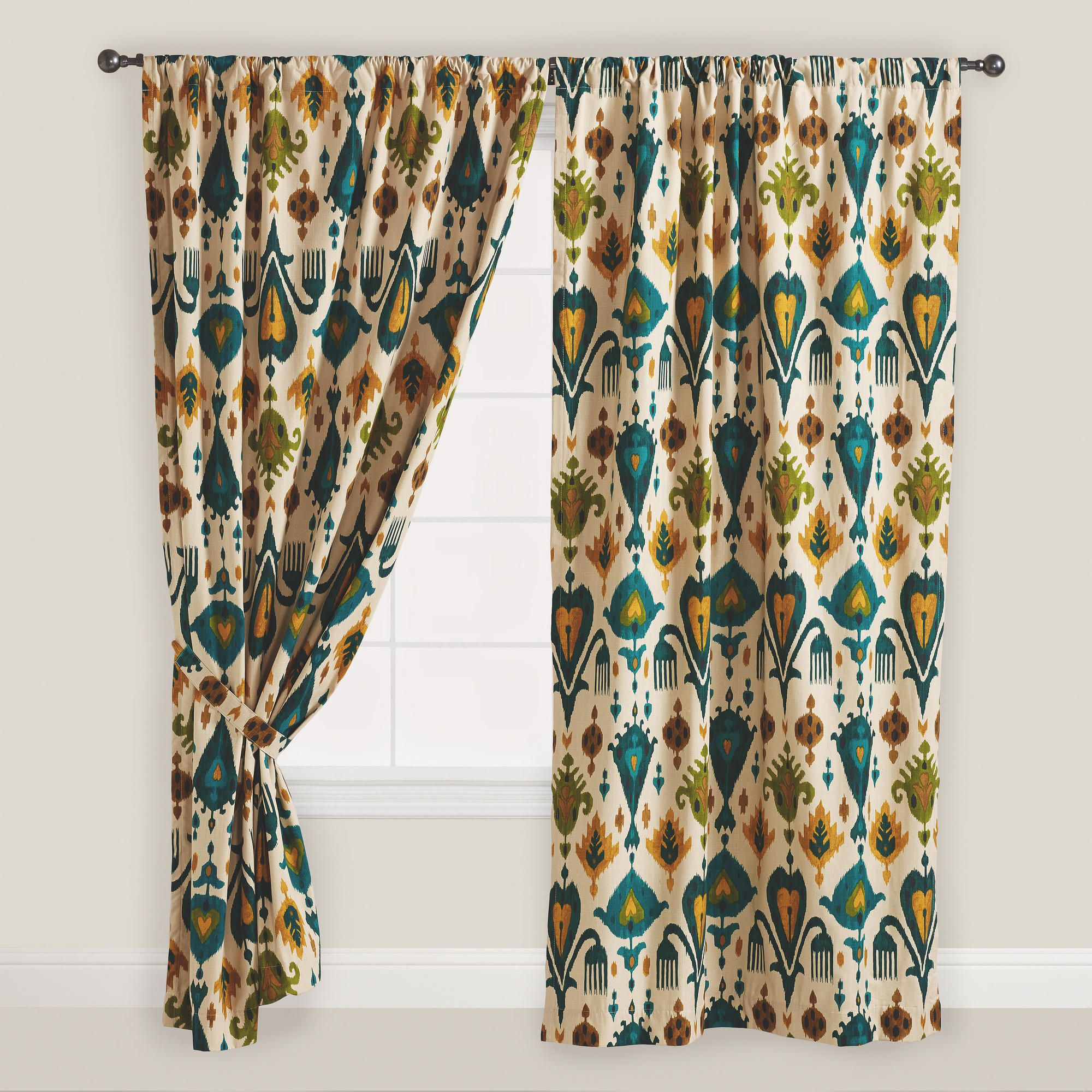 Gold and Teal Ikat Aberdeen Cotton Curtains, Set of 2   Cotton ...
