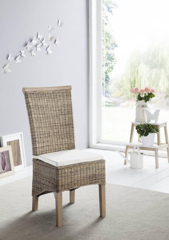 Sitzkissen für RATTAN Stühle Drill mit Schleife #101 creme Jetzt ...
