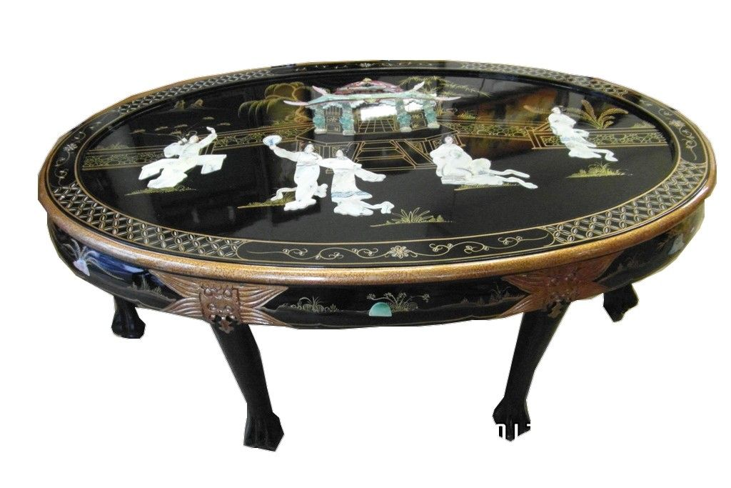 Table De Salon Ovale Chinoise Laque Noir Personnages En Nacre Dimensions L 120 P 76 H 51 Table De Salon Mobilier Chinois Meuble Chinois
