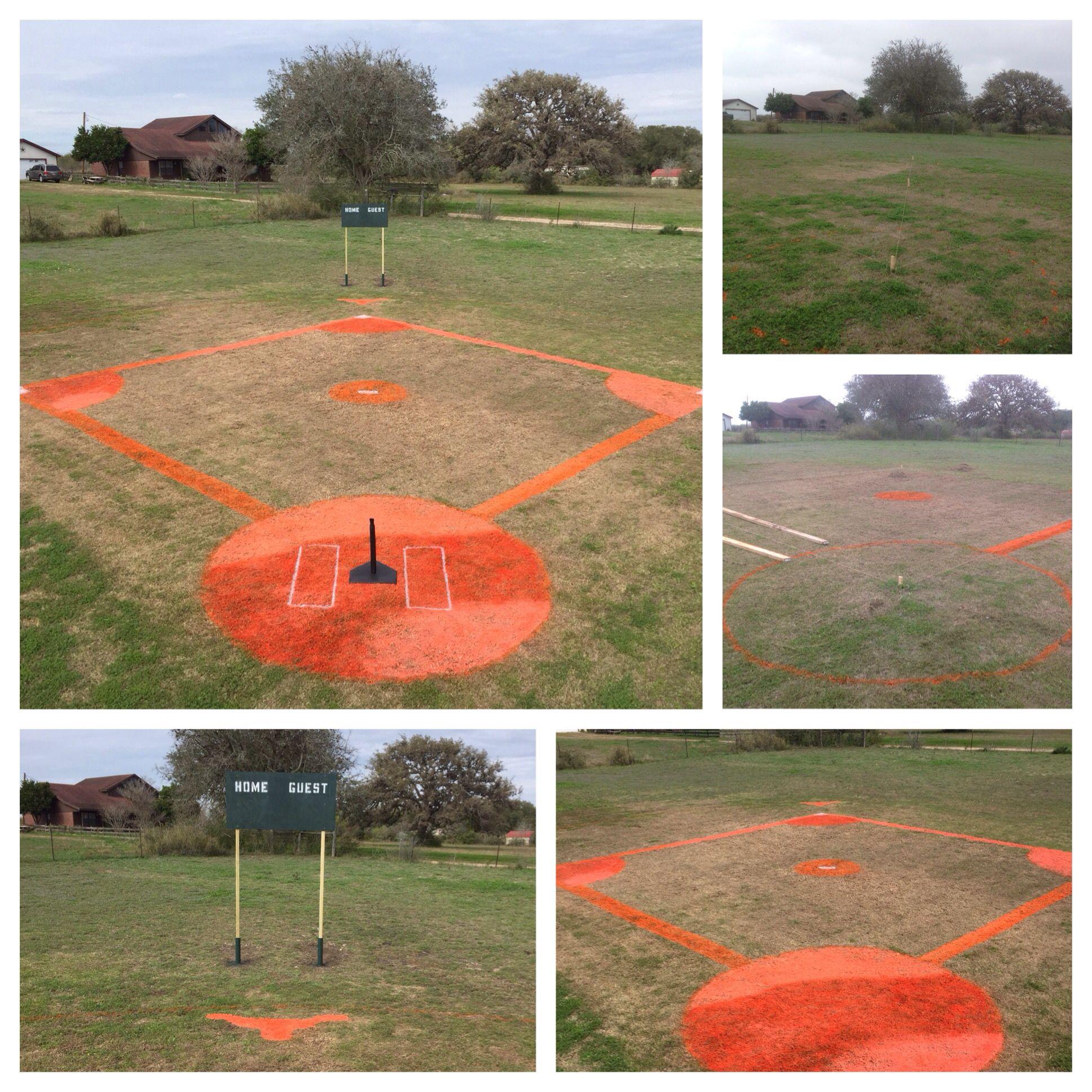 Diy Baseball Field For The Kids Few Cans Of Paint Weekend Lots Of Fun Backyard Baseball Baseball Field Wiffle Ball