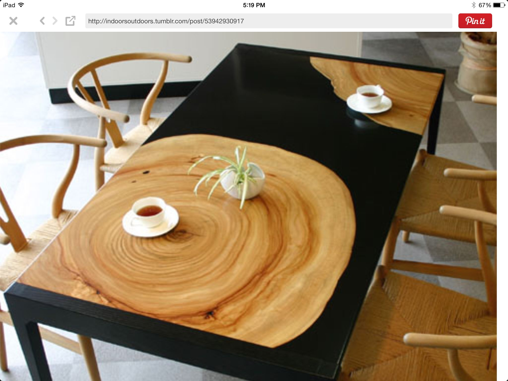 Wood Tree Trunk Slice Table     Modern Bohemian Boho Interior Design /  Vintage And Mod Mix With Nature, Wood Tones And Bright Accent Colors ...