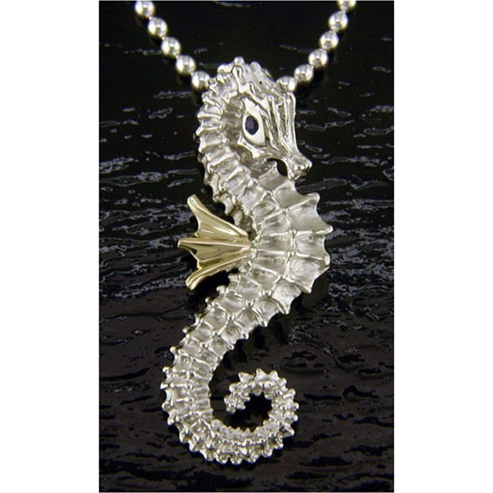 "Large Silver Seahorse Charm Pendant  Necklace 24/"""