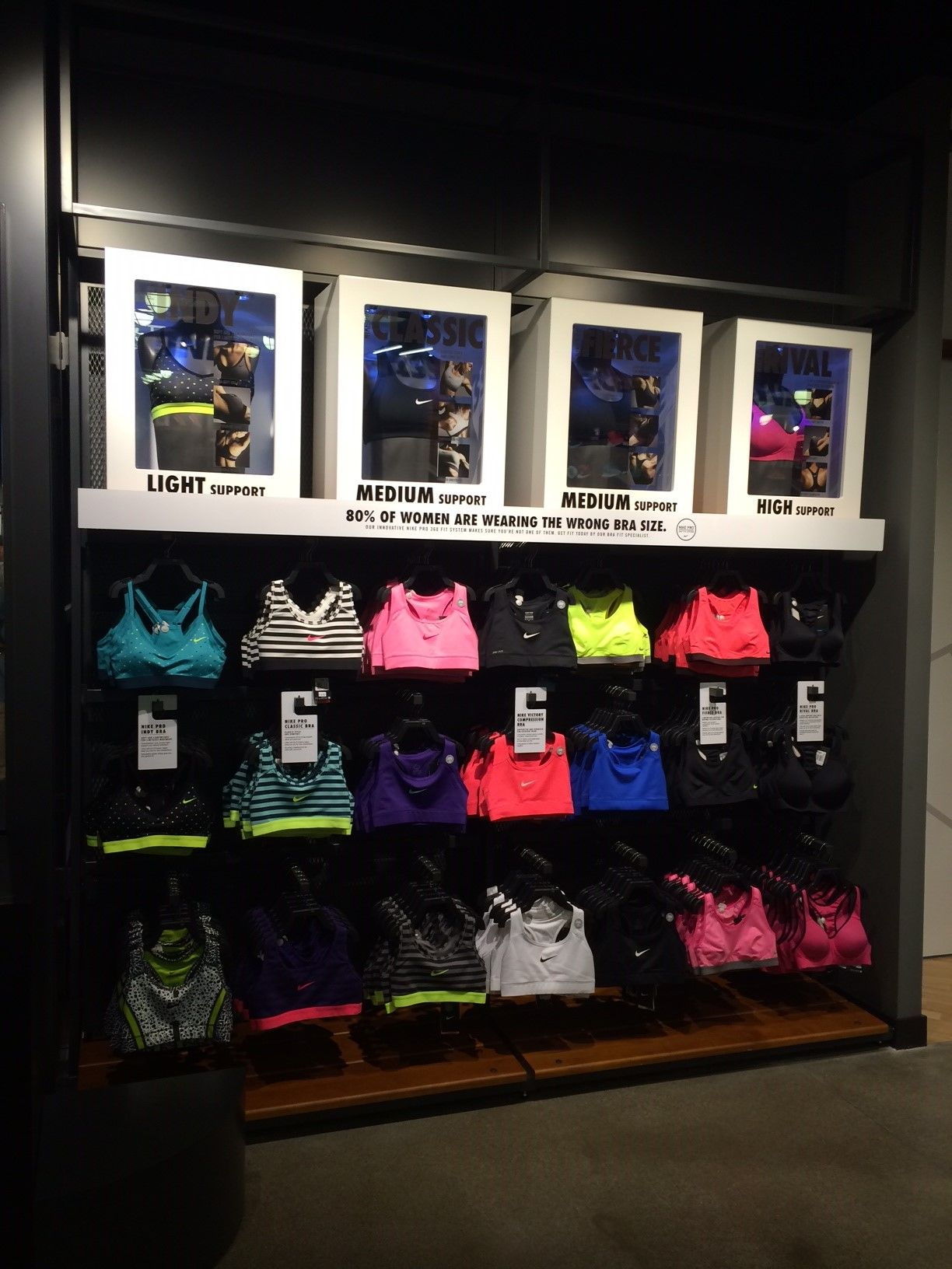 e685e48f43 Nike womens bra bar retail sports apparel wall display.