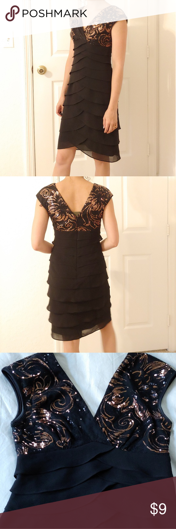 Black Formal Sequin Dress Black Dress Barn Size 4 Party Dress Black And Gold Sequin Bodice With Black Ruffled Bottom I Don Dresses Clothes Design Sequin Dress [ 1740 x 580 Pixel ]