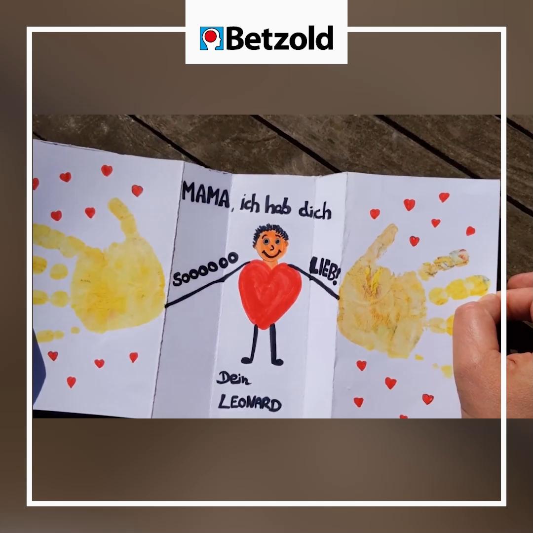 Muttertag / Vatertag Karte einfach basteln mit Kindern   DIY Idee