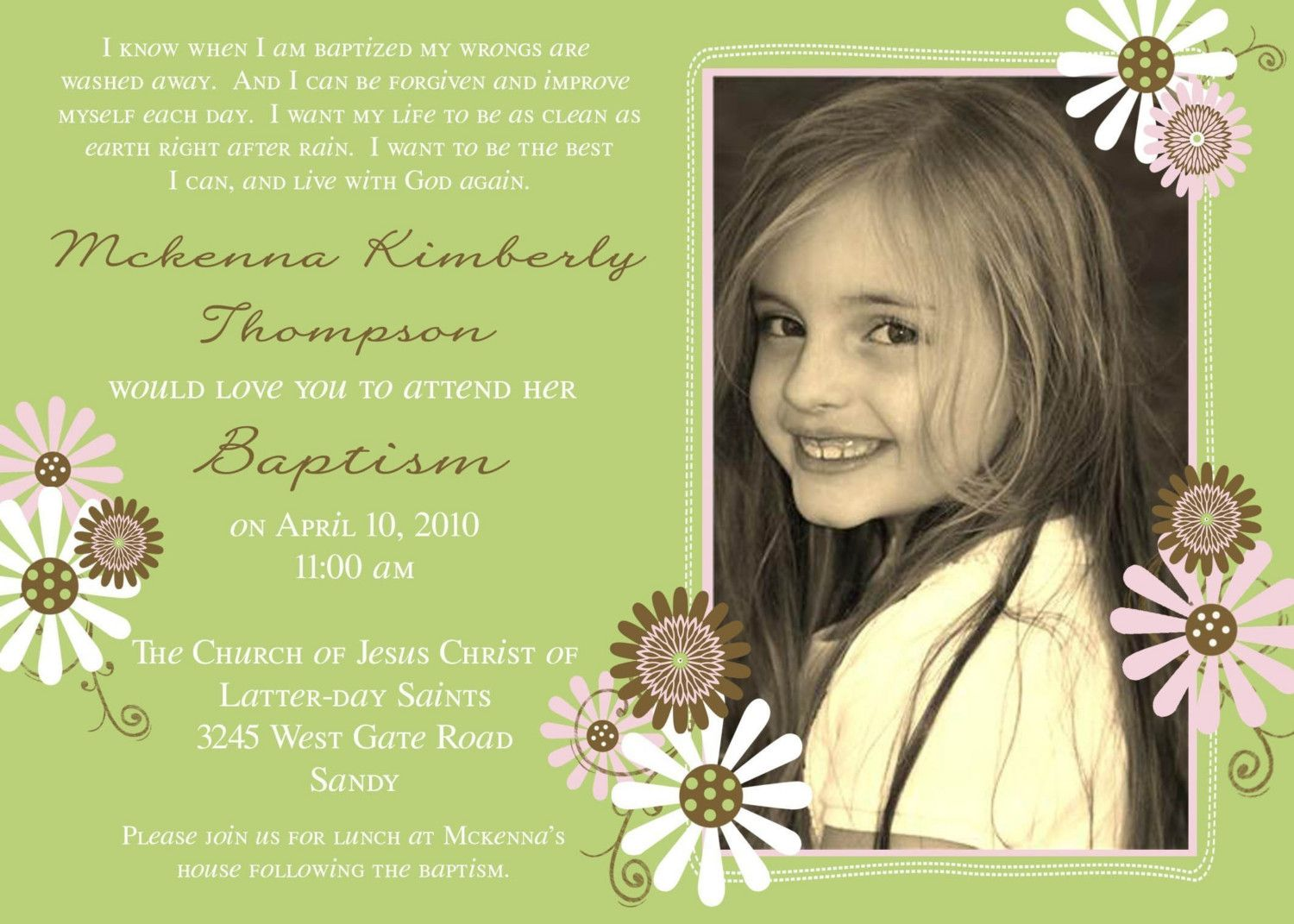 LDS baptism invitation ideas Find more LDS greats at
