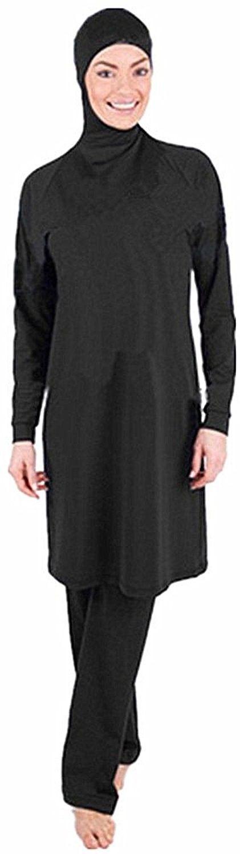 Photo of Muslim Swimwear Women Islamic Hijab Modesty Modest Swimsuit Costume – Black – C7…