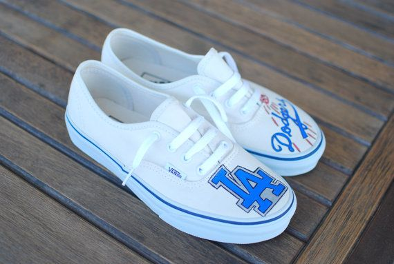 6d273f59aa335 Items similar to Custom Hand Painted Los Angeles Dodgers Vans ...