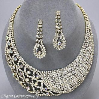 Royalty Bridal Prom Formal AB Clear Crystal Gold Necklace Set