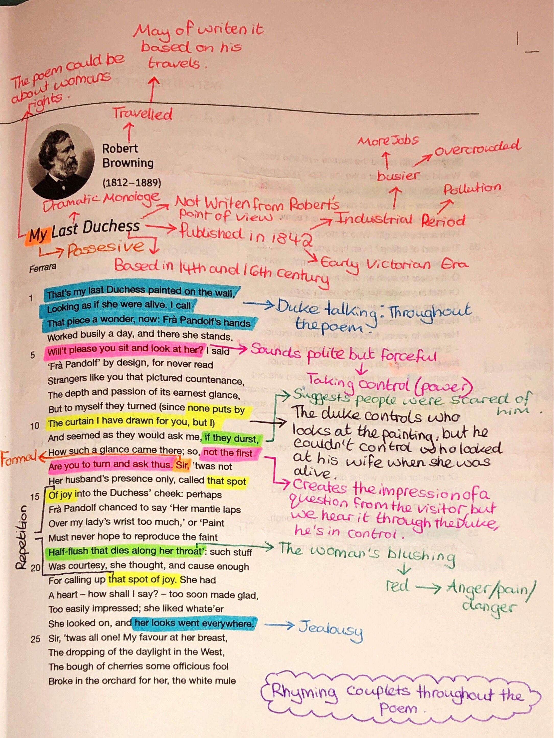 My Last Duches Analysi Gcse English Literature Poem Analysis Line By