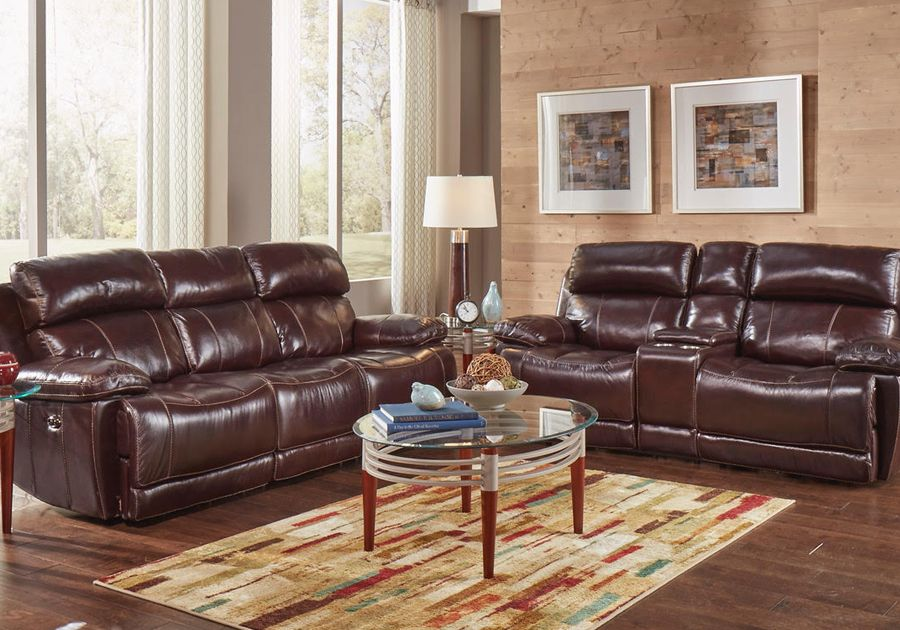 Best Charleston Burgundy Power Reclining Sofa Loveseat In 400 x 300