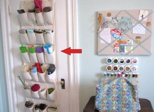 look!: creative way to store leftover yarn | door shoe organizer