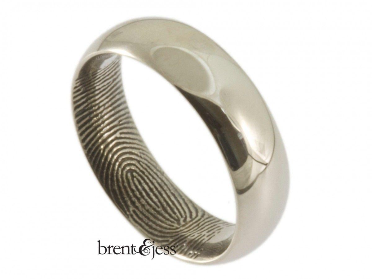Palladium Comfort Fit Low Dome Fingerprint Wedding Band With Interior Tip Print Custom Hand Fingerprint Jewelry Fingerprint Wedding Bands Fingerprint Wedding