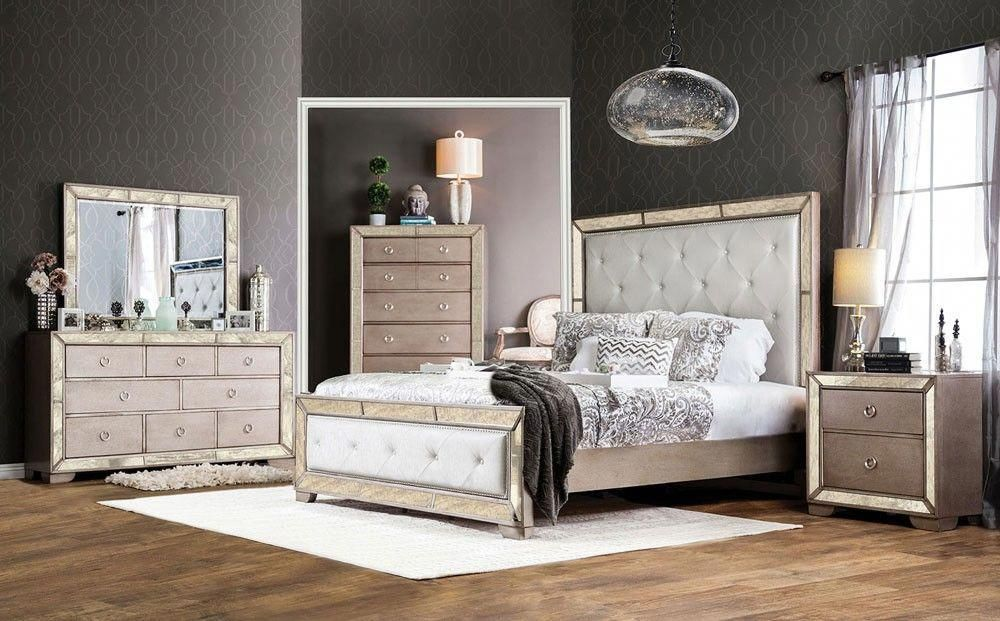Ailey Bedroom Furniture With Mirrored Accents Melrose discount