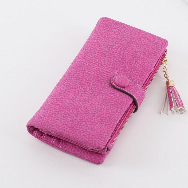 Elegant Pu Leather Tassel Long Wallet Card Holder Purse