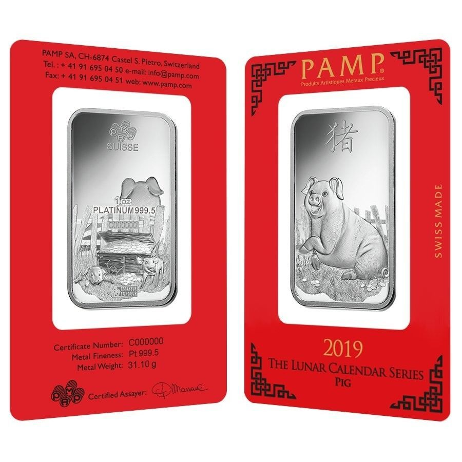 Sale Price 1 Oz Pamp Suisse Year Of The Pig Platinum Bar In Assay Year Of The Pig Pig Silver Bullion Coins