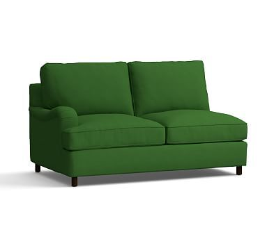PB Comfort English Arm Upholstered Left Arm Love Seat, Box Edge Polyester Wrapped Cushions, Linen Blend Grass Green