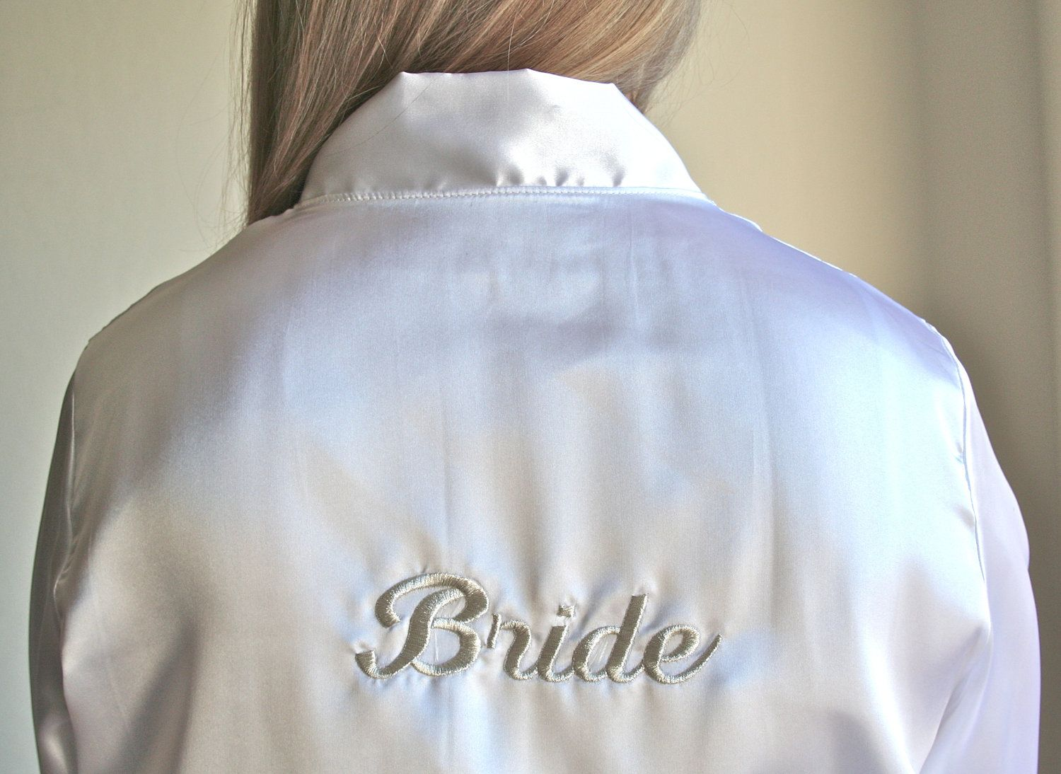 White Embroidered Kimono Bride, Bridesmaid, Maid of Honor and Mother of the Bride Wedding Bridal Party Getting Ready Wedding Day Robes. $28.00, via Etsy.