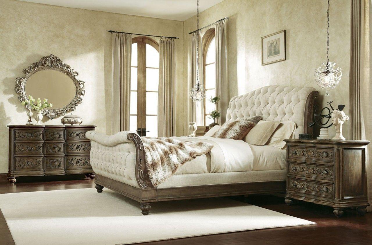 American Drew Jessica McClintock Sleigh Bedroom Set In Baroque   Bedroom  Sets   Bedroom