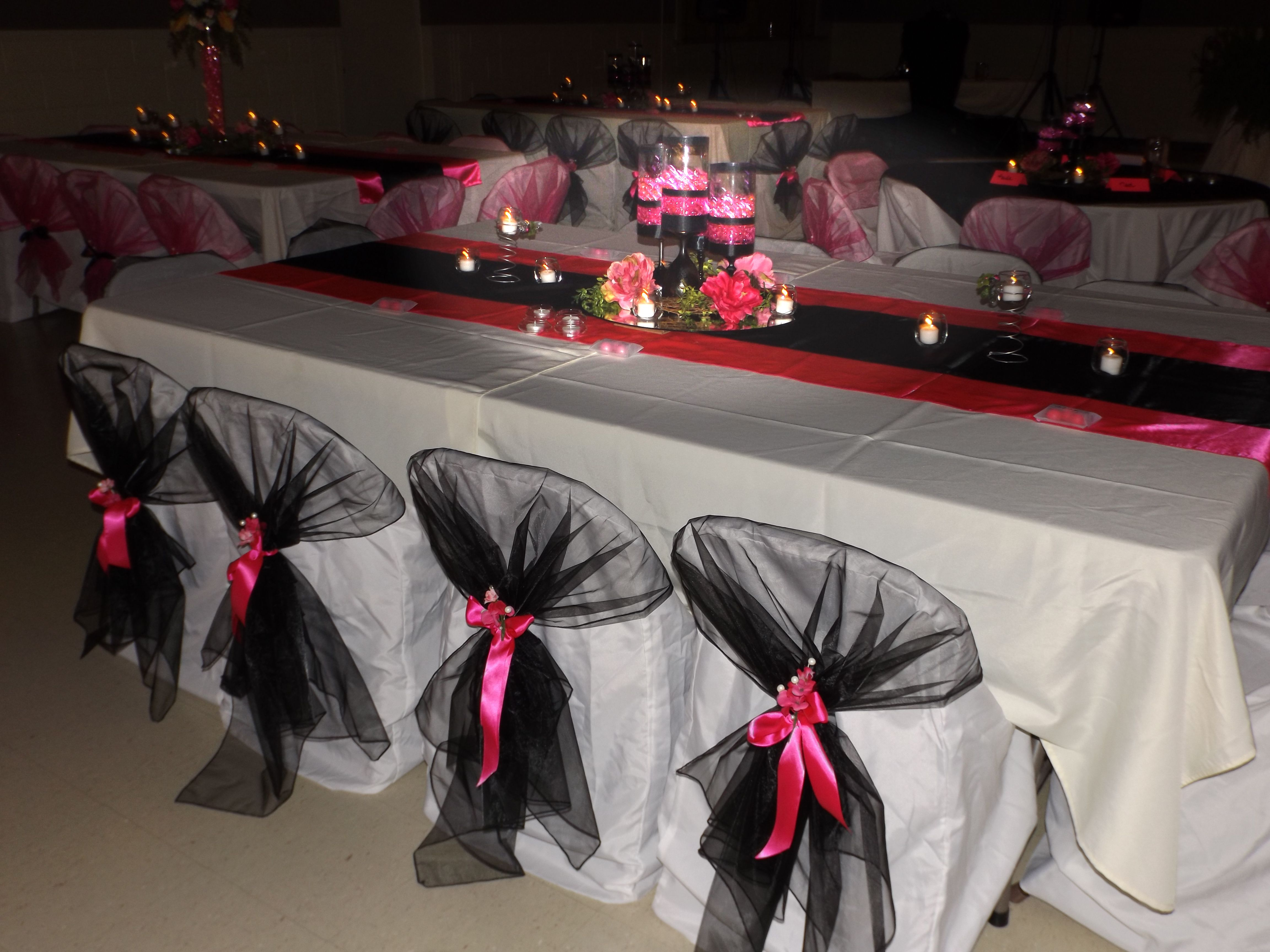 Hot Pink and Black Wedding. Items available for rent from Party with Pizzazz. Check us out on Facebook.