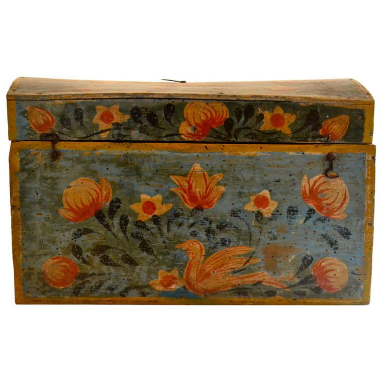 18th Century Painted Blue Domed Swedish Box | From A Unique Collection Of  Antique And Modern