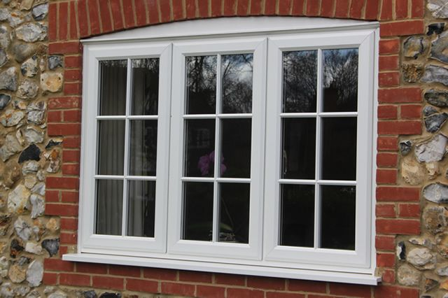 Recent project white wood effect georgian upvc windows for Upvc window designs
