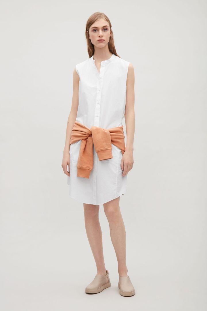 172ea08ab4f COS image 9 of Sleeveless shirt dress in Optic white