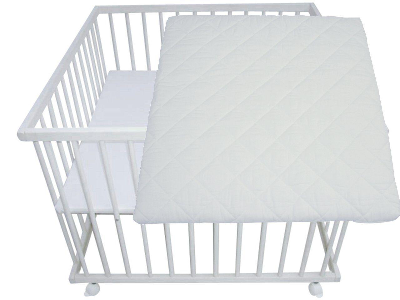 laufgitter wei lasiert 100x100 buche mit matratze baby baby baby laufgitter. Black Bedroom Furniture Sets. Home Design Ideas