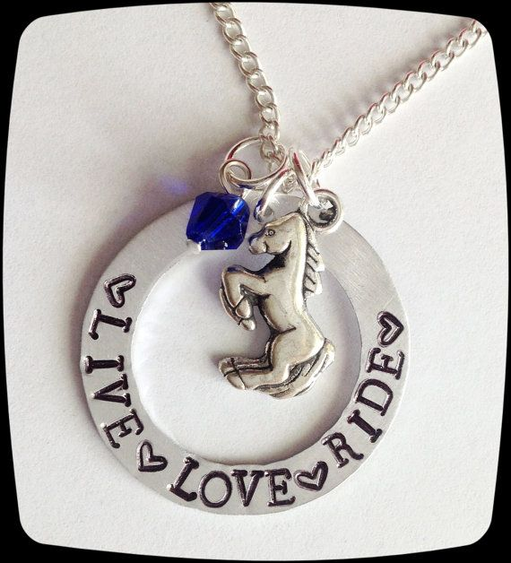 Personalized Horse Jewelry Live Love Ride Horse by ThatKindaGirl, $19.00