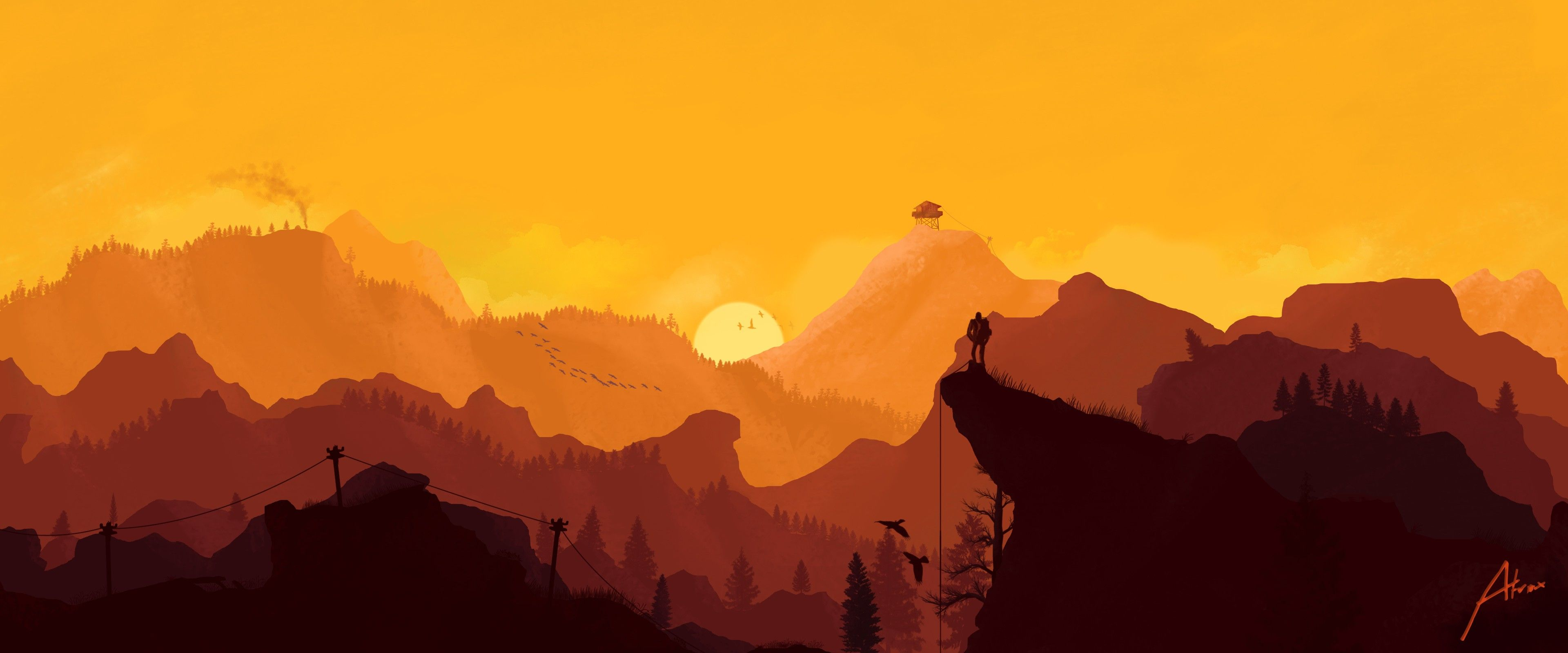 General 3840x1600 Firewatch Video Games Landscape Mountain Paintings Hd Wallpaper Landscape Wallpaper