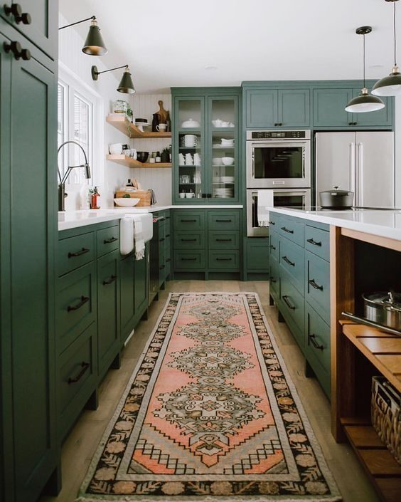 Our Favorite Vintage Rugs That Will Transform Your Home Wit Delight Designing A Life Well Lived Green Cabinets Interior Design Kitchen Kitchen Design