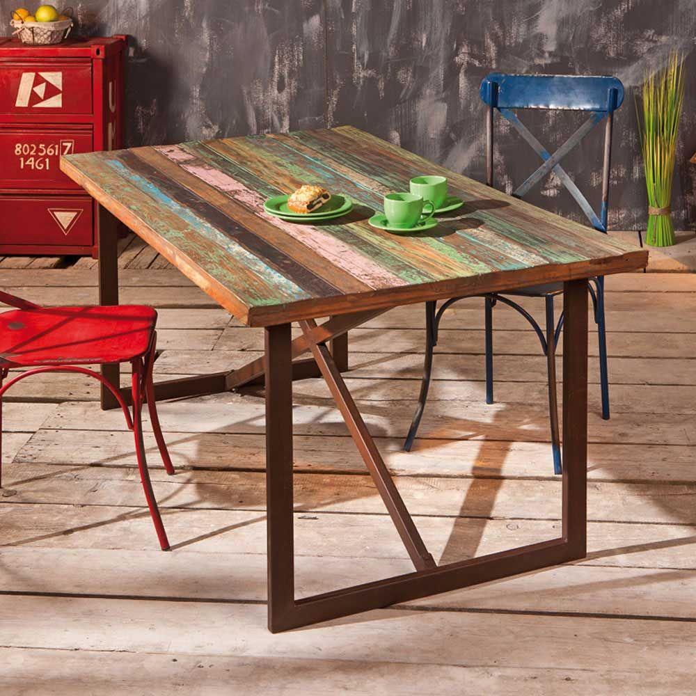 Shabby Chic Esstisch in Braun Bunt 160 cm holztisch,massivholztisch ...