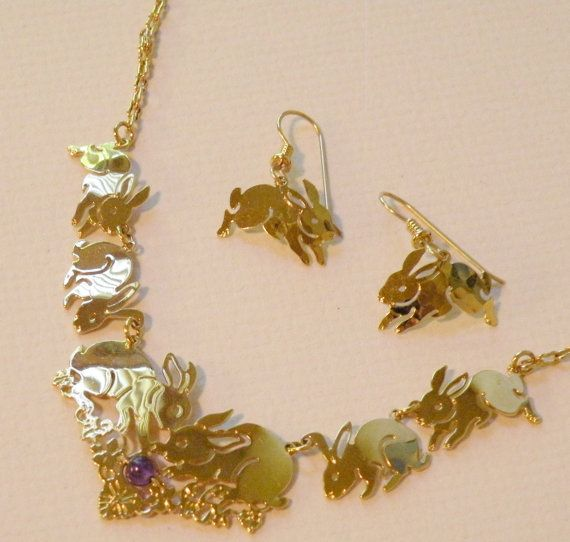 Wild Bryde Bunny Necklace and Matching by pinkpoodlevintage