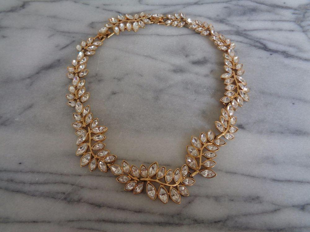 Kenneth Jay Lane KJL Gold Metal & Clear Crystal Leaf Choker Necklace #KennethJayLane #Choker