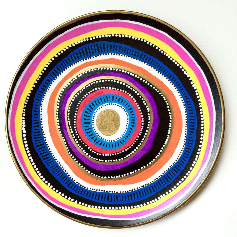 Rainbow Decorative Plate - Original Art Work - Colorful Mandala - Colorful Wall Decor - Colorful Spiral -  Rainbow Decor - Art Wall by biancafreitas on Etsy
