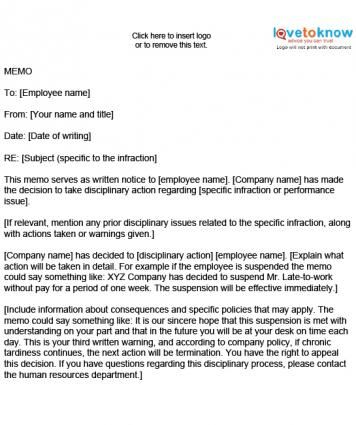 Sample Employee Disciplinary Memo memo samples Pinterest