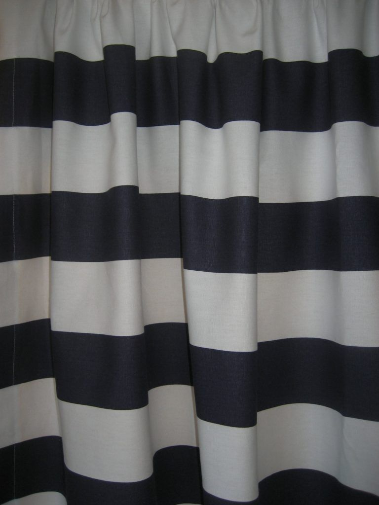 Blue and white vertical striped shower curtain shower curtain