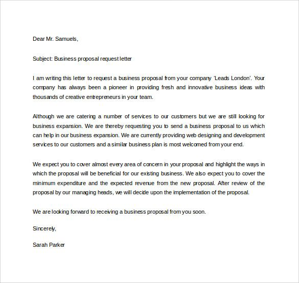 Business Proposal Request Letter  Excel Examples