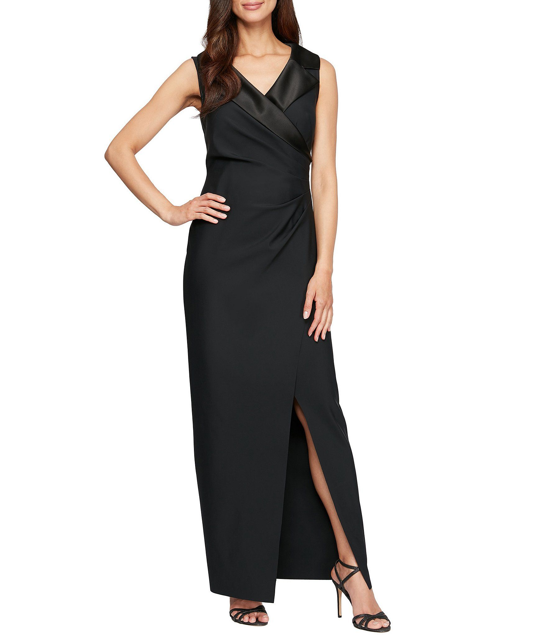 Adrianna Papell Womens Sleevelss Faux Wrap Bodice Light Satin High Slit Dress
