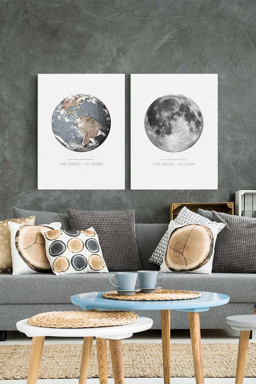 Stampa su tela - Terra E Luna - Verticale 4:3 | Quadri ...