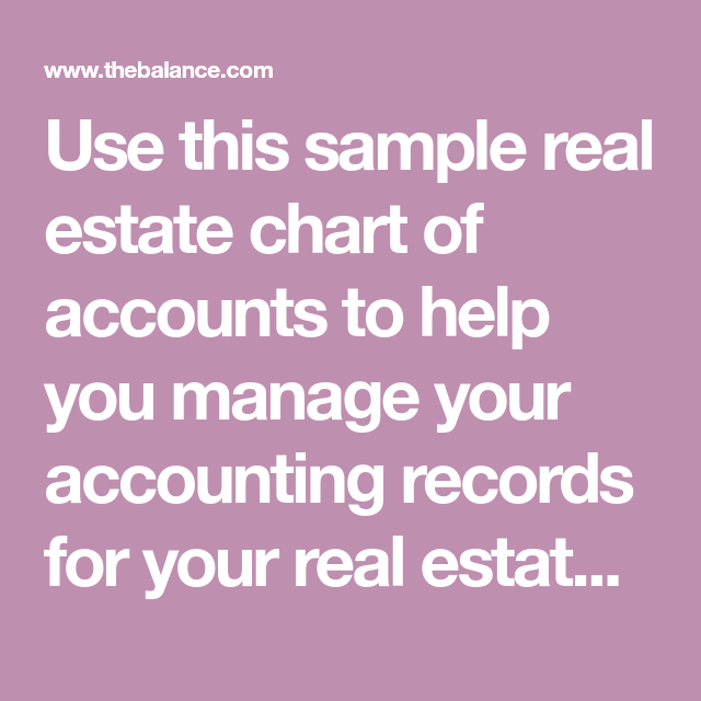 A Sample Real Estate Agent S Chart Of Accounts Chart Of Accounts Accounting Real Estate