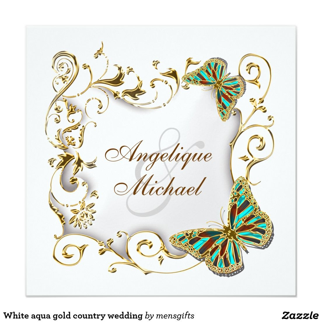 "White aqua gold country wedding 5.25"" square invitation card"