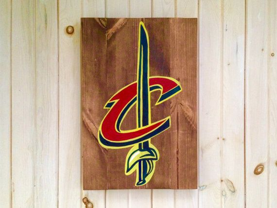 Cleveland Cavaliers Sword Logo Wooden Sign by WoodenCanvasbyHeath