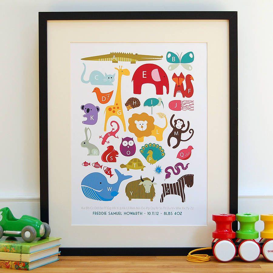 Personalised Children\'s Animal Alphabet Print | Animales, Tinta y Niños