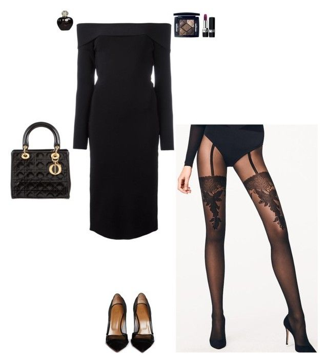 """""""No more intentions"""" by stylev ❤ liked on Polyvore featuring T By Alexander Wang, Christian Dior, Wolford and Aquazzura"""
