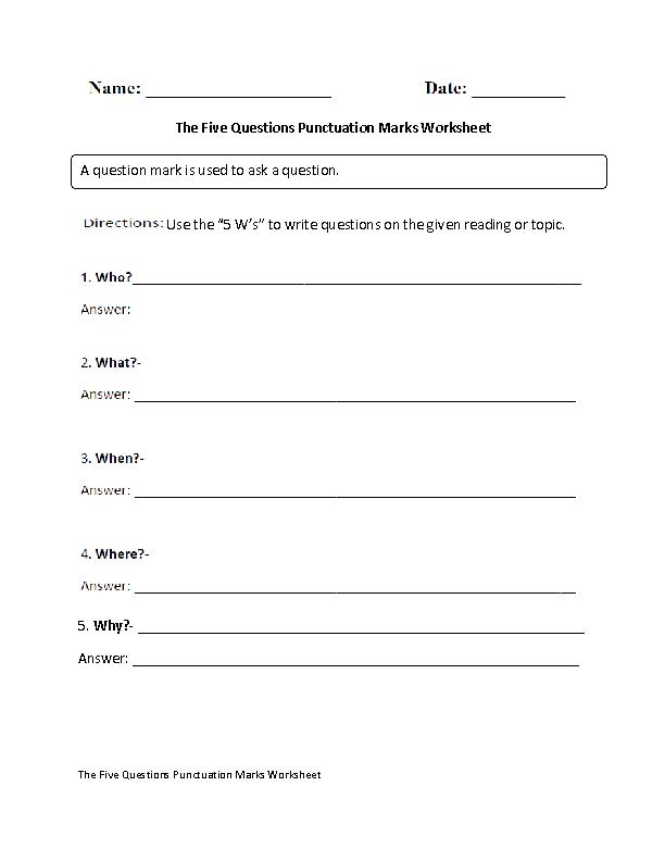 Question Marks Punctuation Worksheet Grammar Pinterest