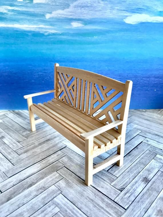 Natural wood garden bench, chair and tables, dollhouse ...