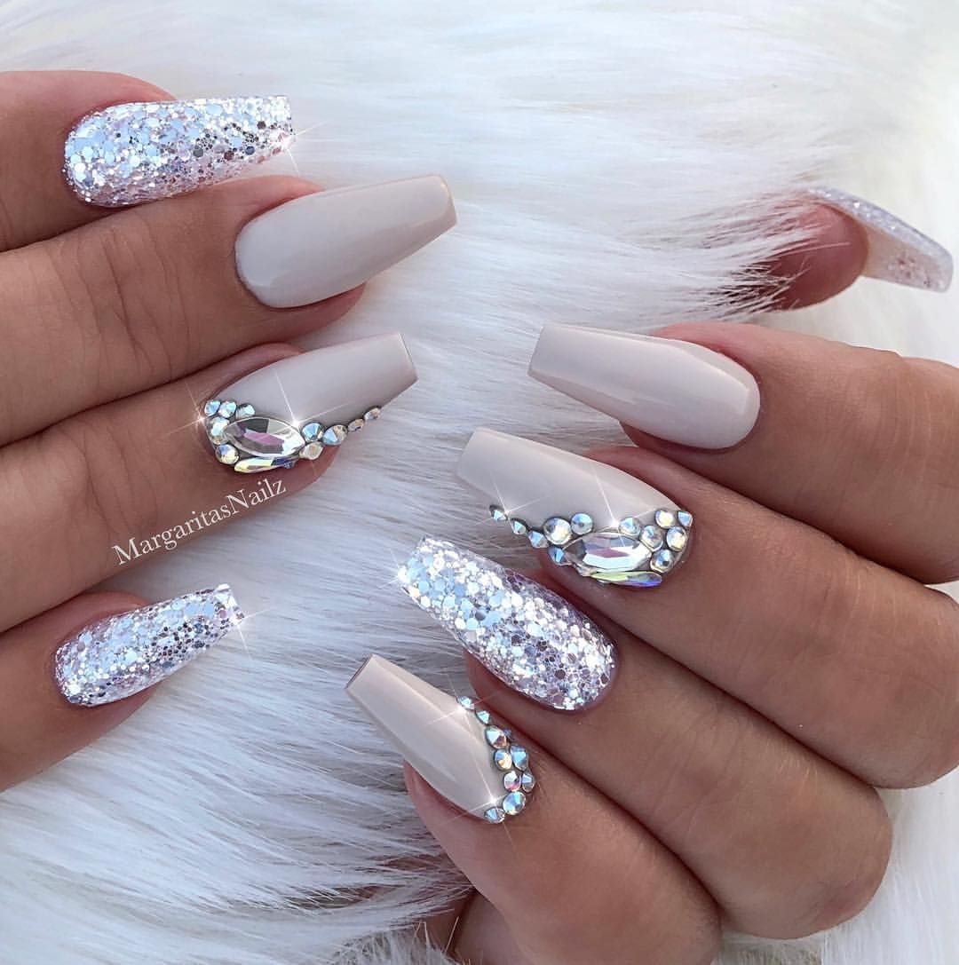 Nude Coffin Nails Silver Glitter Bling Nail Art Design By