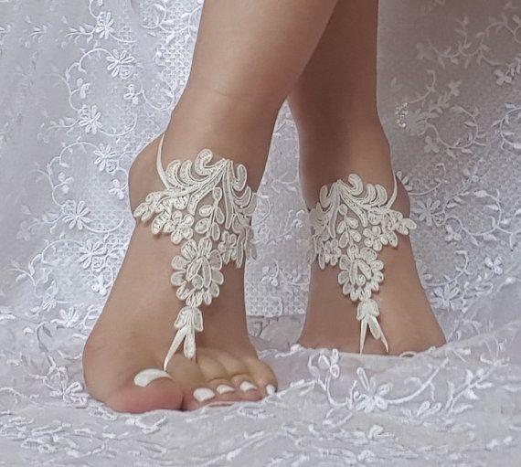 56a4fed64b4af0 ivory or black Beach wedding barefoot sandals bridesmaid gift bridal ...